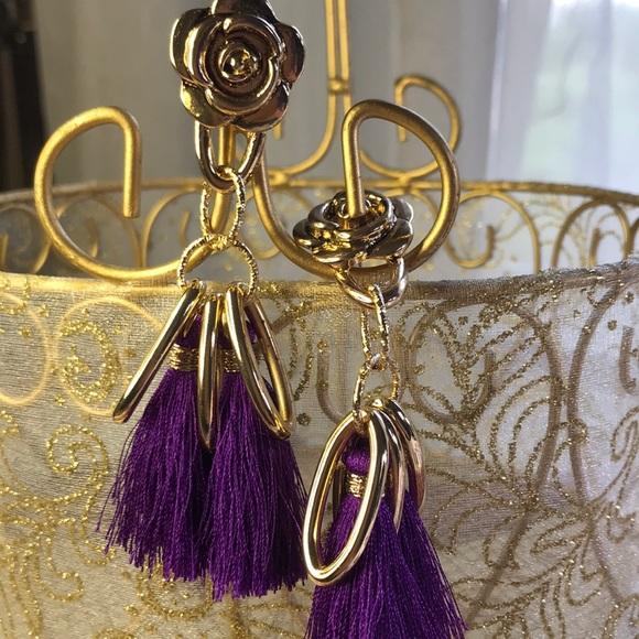 Purple Fringe Earrings with rose
